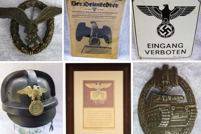 Nazi artefacts for sale at a NSW military memorabilia auction