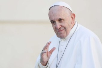 Pope Francis pictured against white wall of St Peter's Square ahead of his weekly audience with followers