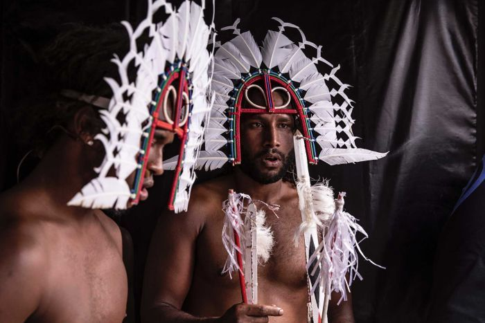 Colour photo of Daniel David and Naseti Hankin of URAB Dancers side of stage at Dance Rites 2018.