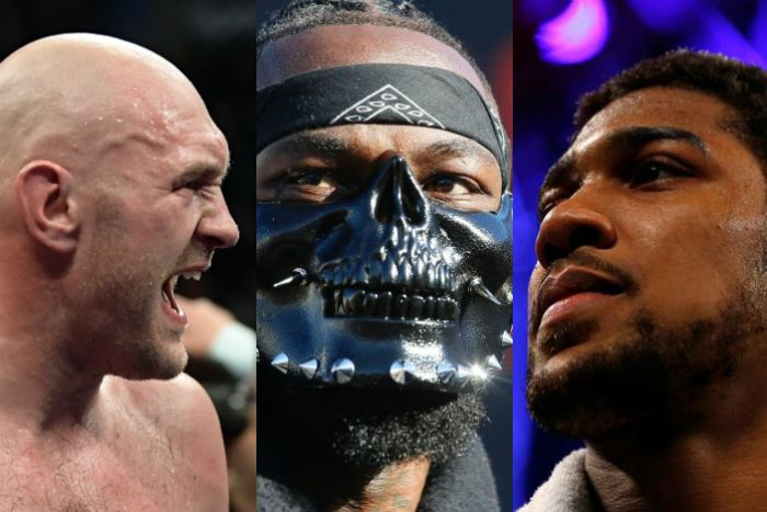 Three headshots of Tyson Fury, Deontay Wilder and Anthony Joshua.