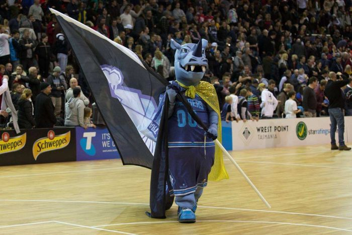 Hobart Chargers basketball team mascot Rex the Rhino.