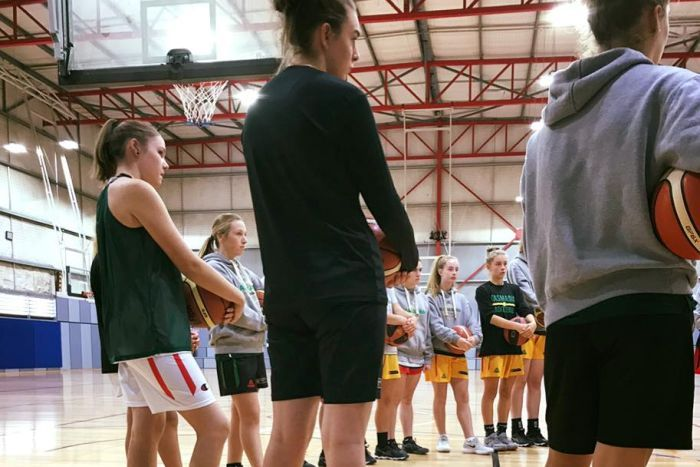 Hobart Charger female basketball players at Deloraine Masters 2018.