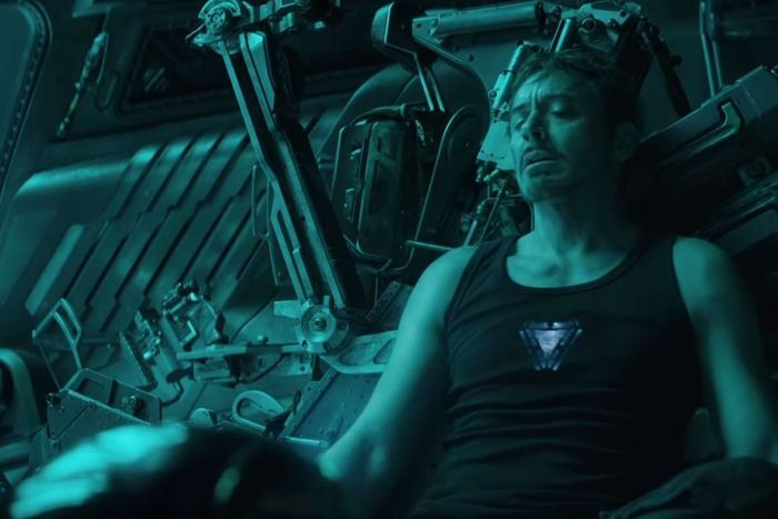 Robert Downey Jr's Tony Stark sits back in a spaceship in the Avengers: Endgame trailer.