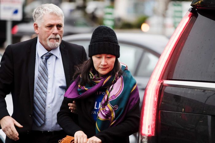 Huawei chief financial officer Meng Wanzhou arrives at a parole office in Vancouver.