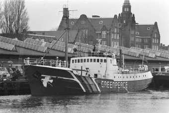 The Rainbow Warrrior in Amsterdam awaiting departure to Newfoundland on March 2, 1981.