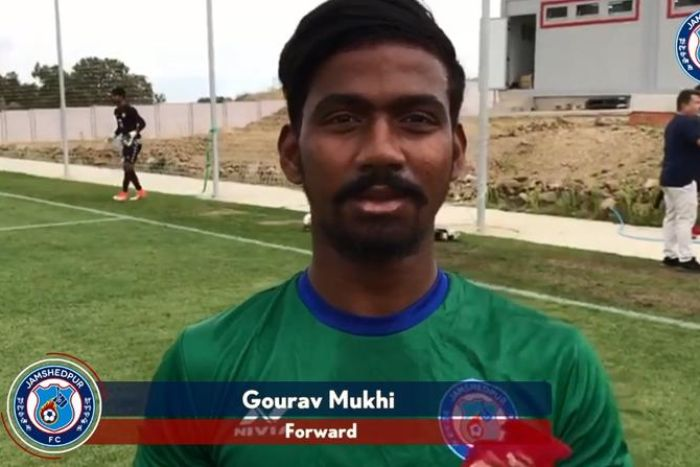 Indian Super League player Gourav Mukhi speaks to press at training