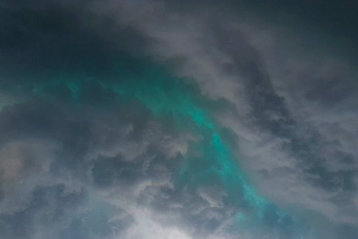 green storm clouds - very spooky!