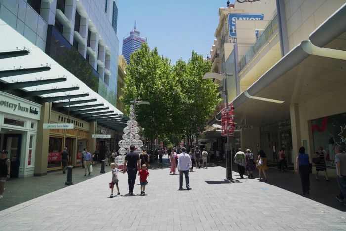 A picture of an open mall in the Perth central business district.
