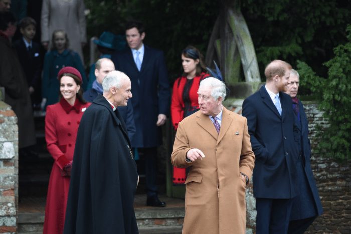 Prince Charles leaves after attending the Christmas day service at St Mary Magdalene Church
