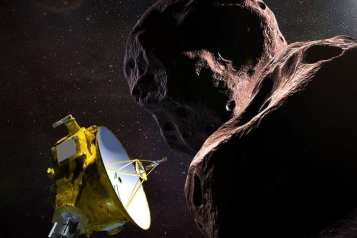 An artists impression showing the New Horizons probe investigating Ultima Thule.