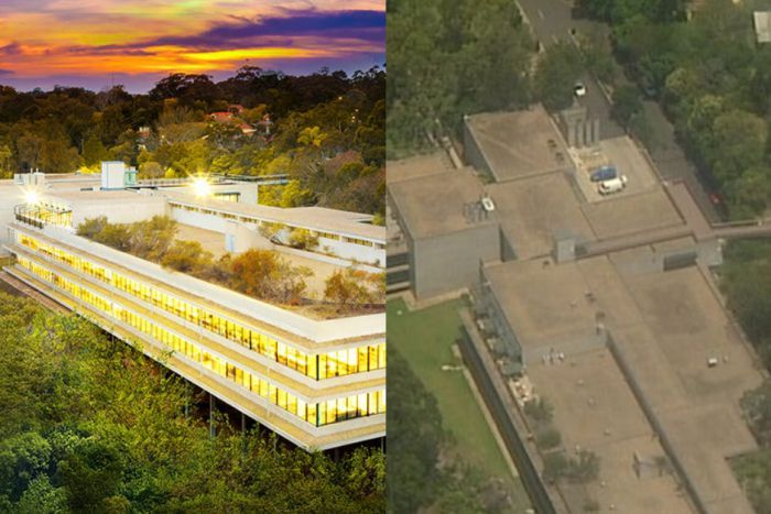 A composite image showing the roof of a Scientology building in 2016 and the same building in 2018