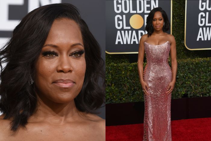 Regina King wears pink chain mail on the red carpet.