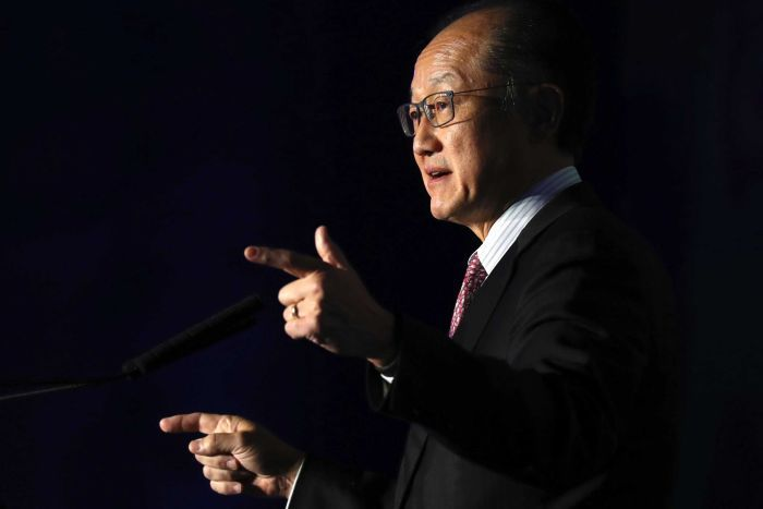 World Bank president Jim Yong Kim gestures as he speaks at a conference.