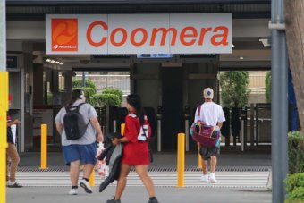The entrance to Coomera train station
