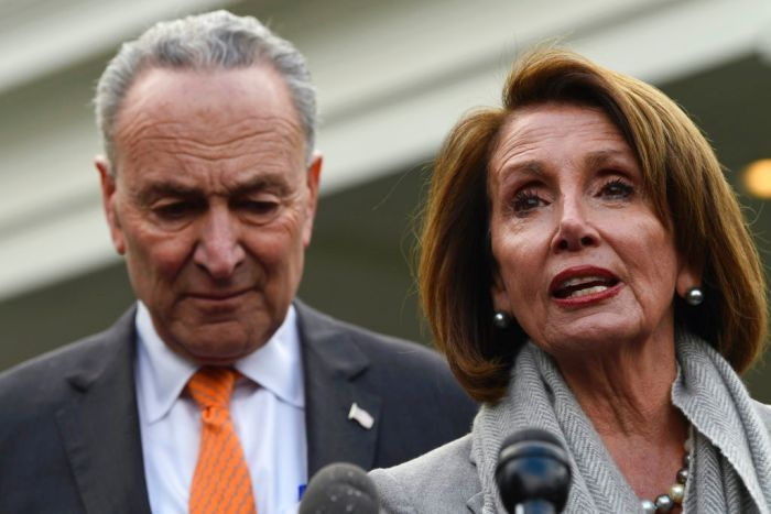 Nancy Pelosi mid-sentence with microphones in front of her. Chuck Schumer is behind her.