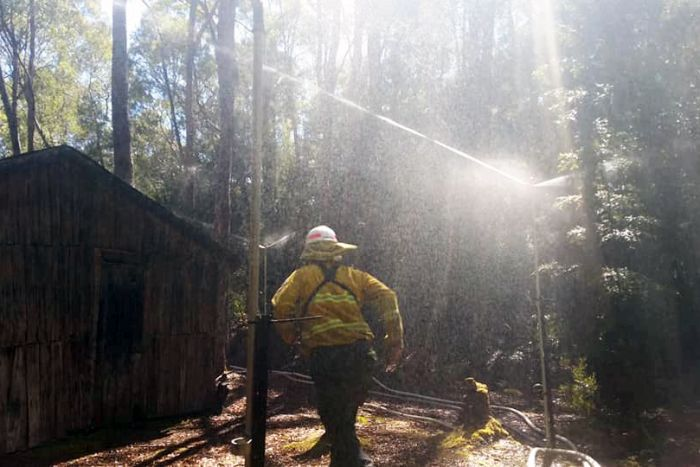 Sprinklers trained on Churchill's Hut during the Gell River fire
