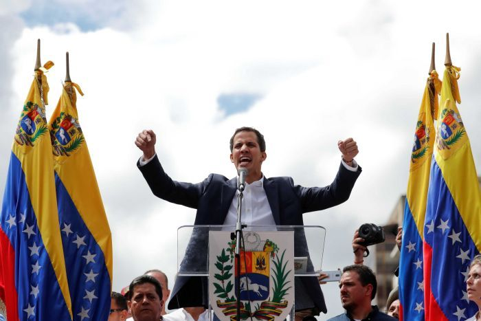 Juan Guaido reacts during a rally against Venezuelan President Nicolas Maduro's government.