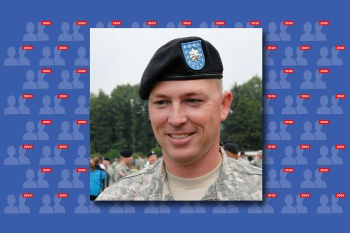 Bryan Denny in a military beret with Facebook profile logos in the background.