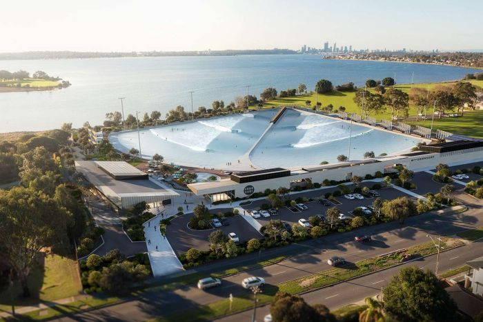 An artist's impression of a wave park, viewed from above, on the Swan River in Perth.