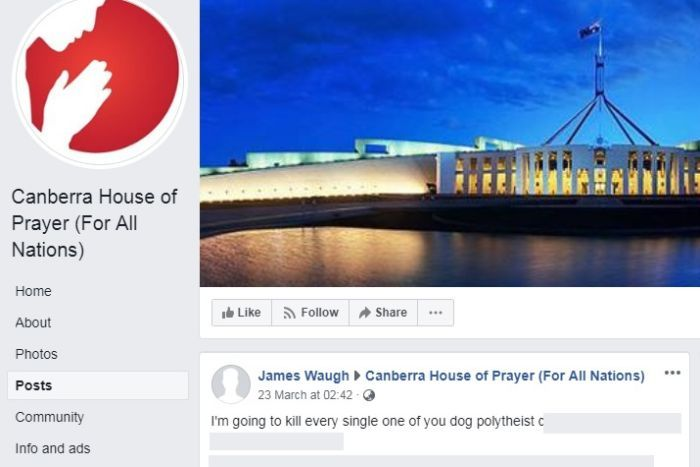 A post on the Canberra House of Prayer Facebook page that reads: I'm going to kill every single one of you dog polytheist c****.