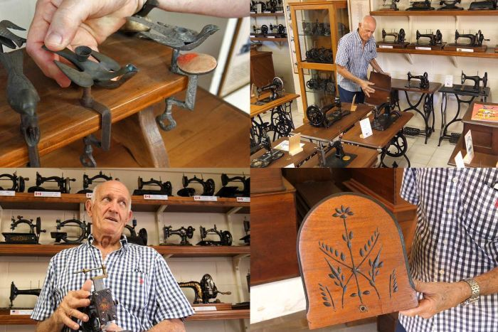 A selection of images of antique sewing machine collector Les Walsh with items from his collection