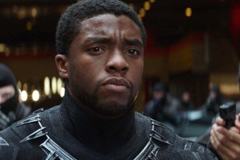 T'Challa wearing the Black Panther suit without his helmet.