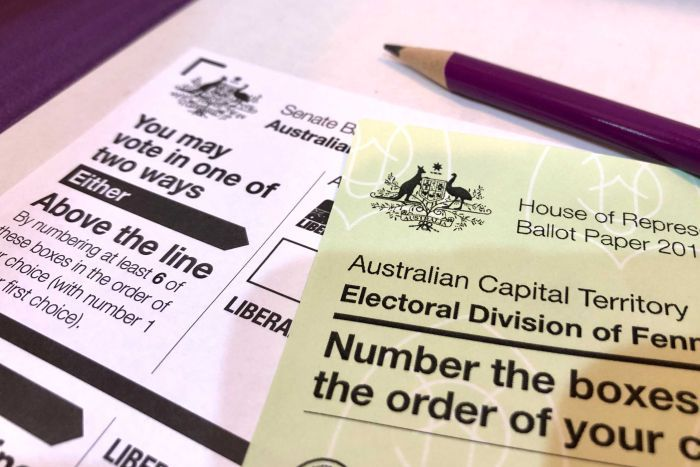 A green House or Representatives ballot paper sits on top of a white Senate ballot paper, with a purple pencil laying on top.