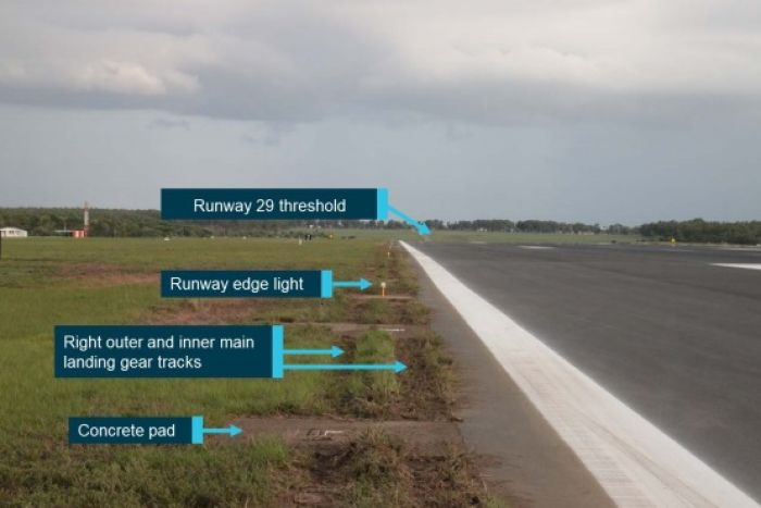 The plane veered slightly onto a grassy section beside the runway