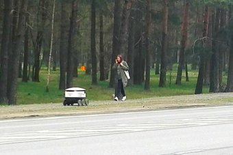 A small delivery robot drives along the path while a woman passes by.