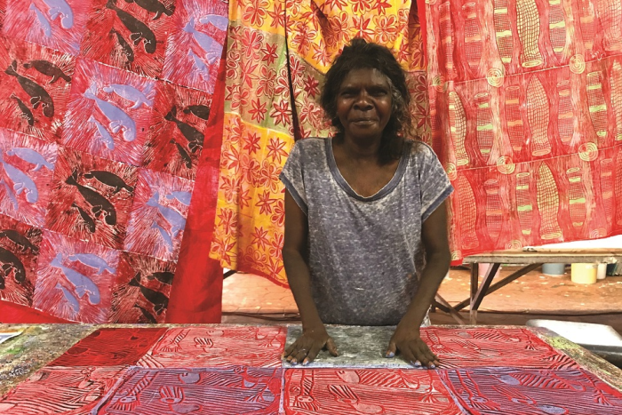 Artist Lucy Yarawanga, whose work will be on display at a textiles exhibition in Paris.