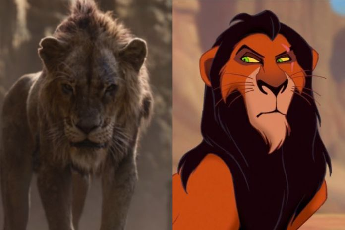 A composite image showing the character The Lion King and the remake.