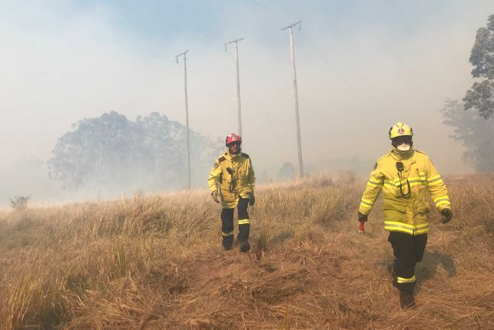 Firefighters walked through long grass on a property shrouded in smoke.