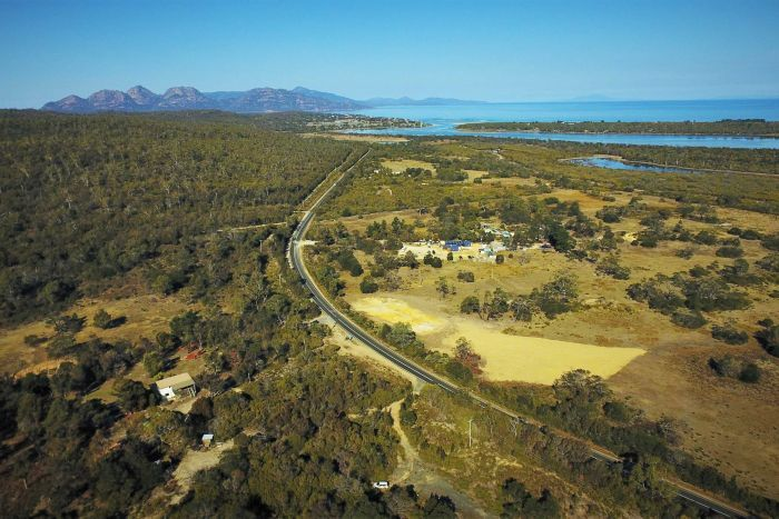 The eco-tourism business called Freycinet Resort is nestled in busland