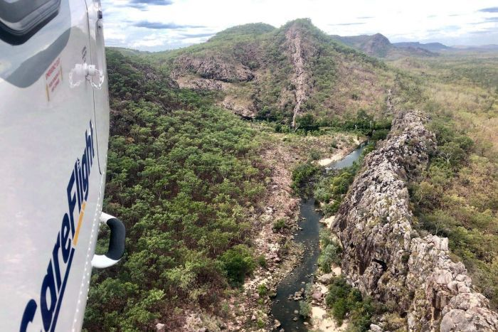 A gorge viewed from a helicopter