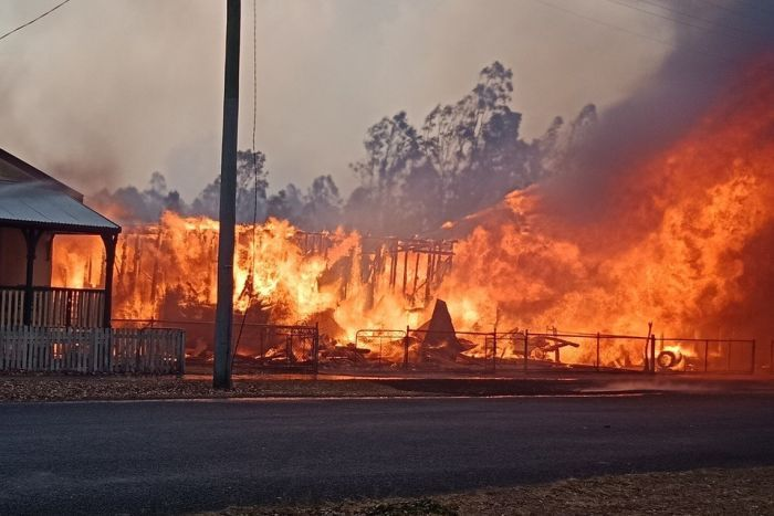 A house up in flames