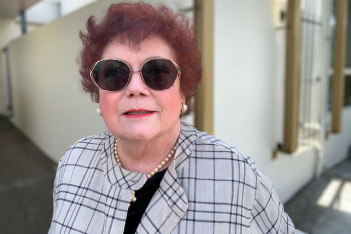 Judith King outside the aged care Royal Commission hearing.