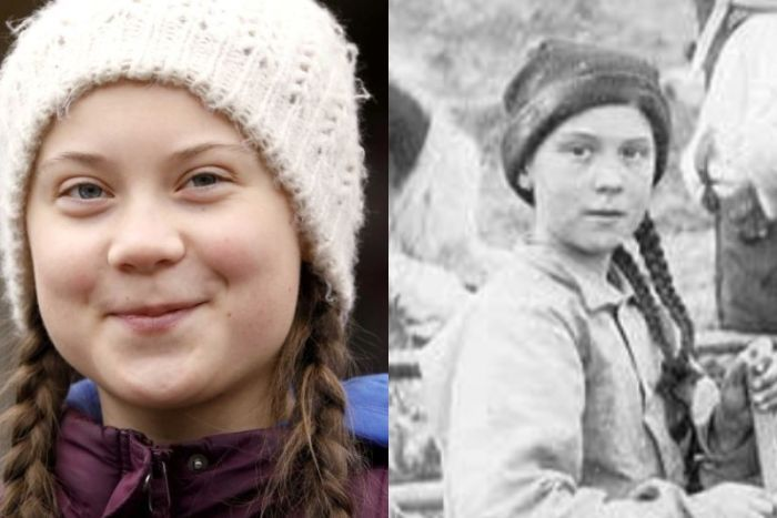 A composite image of Greta Thunberg and a girl in a black-and-white photo who looks like her.