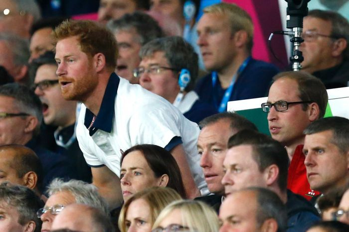Prince Harry stands up to cheer up while he's next to Prince William in the crowd at the 2015 Rugby World Cup.