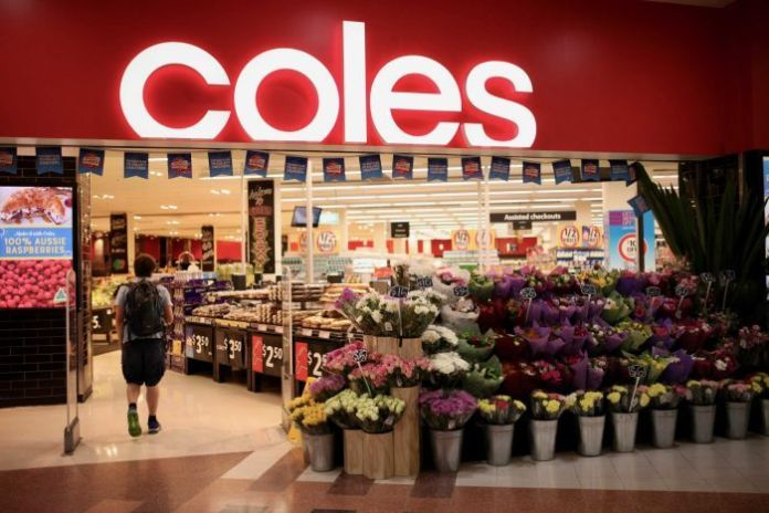 The entrance to the Coles supermarket in Sydney is inside.