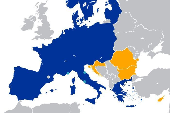 You view an aerial graphic map of Europe largely shaded in blue minus the UK and Ireland.