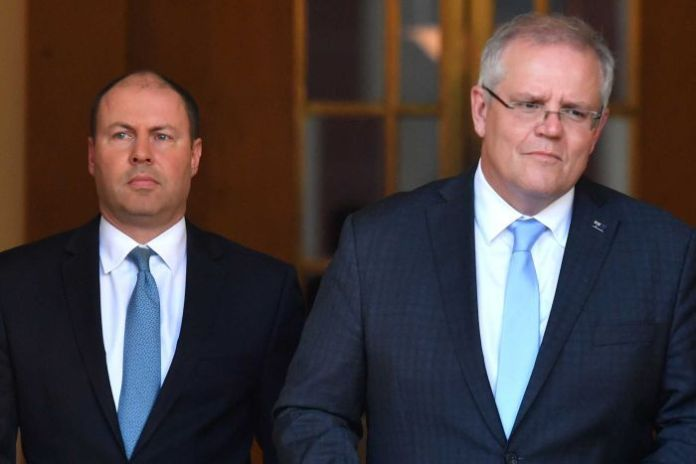 Scott Morrison and Josh Frydenberg walked down the aisle to deliver a press conference about JobKeeper payments.