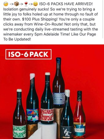 "An alcohol advertisement displaying six wines and the caption ""iso six pack""."