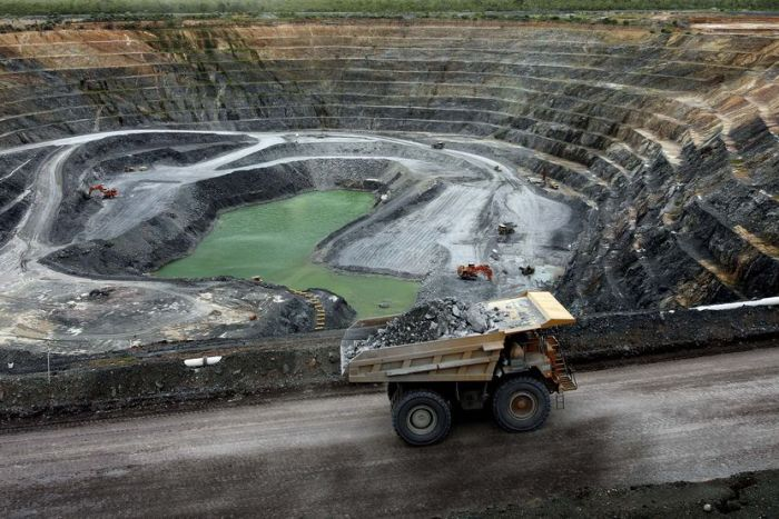 A haul truck carries uranium ore out of the Ranger uranium mine in the Northern Territory.