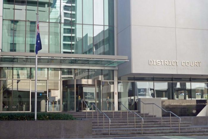 An exterior shot showing the front entrance of the District Court of Western Australia with stairs leading to the building.