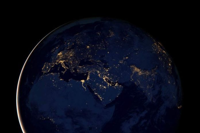 Europe, Africa and the Middle East at night