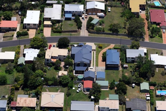Aerial shot of a residential are in Gladstone, in central Queensland.