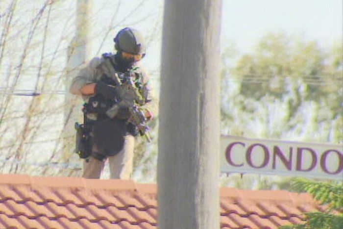 A TRG officer during an operation