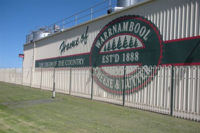 A sign for the Warrnambool Cheese and Butter Factory
