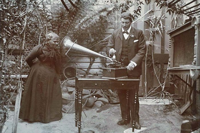 Tasmanian Aborigine Fanny Cochrane Smith makes an a wax recording in her language.