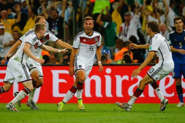 Germany's Mario Goetze (C) celebrates his goal against Argentina in the 2014 World Cup final.